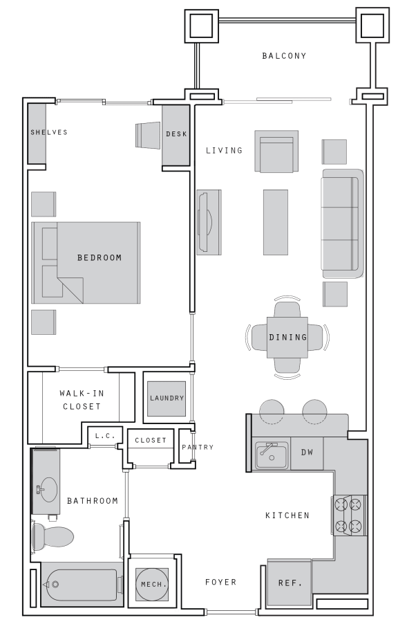 West- A5 One Bed 677 Sqft Floor Plan at Union Heights, Washington