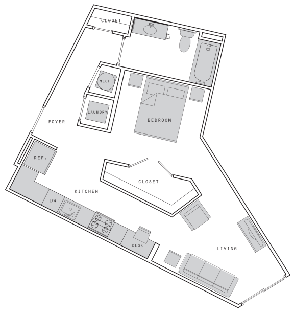 West- S5 Studio 610  Floor Plan at Union Heights, Washington, 20002