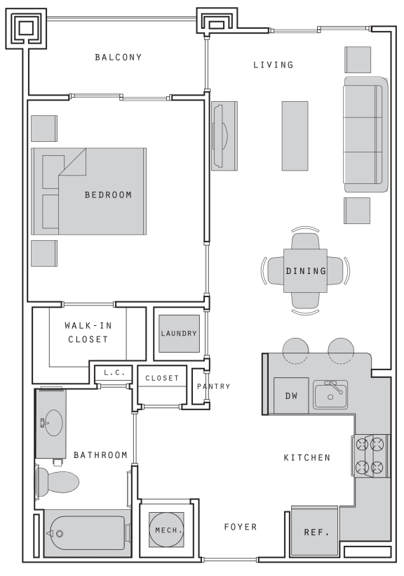 West- A2 One Bed 635 Sqft Floor Plan at Union Heights, Washington, 20002
