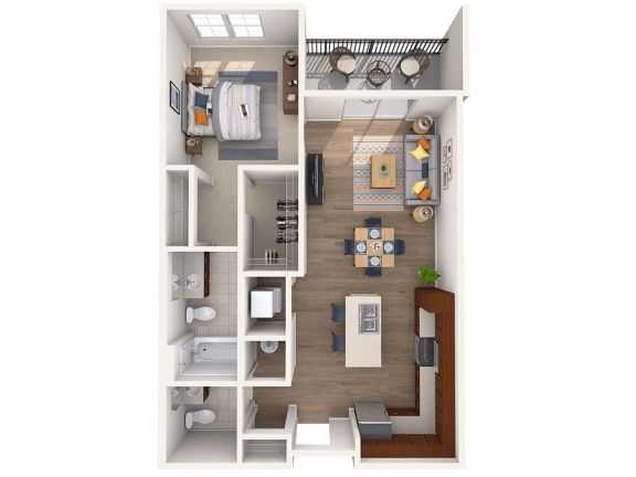 Floor Plan  A3A 1Bed_1.5Bath at Avenue Grand, White Marsh, MD, 21236