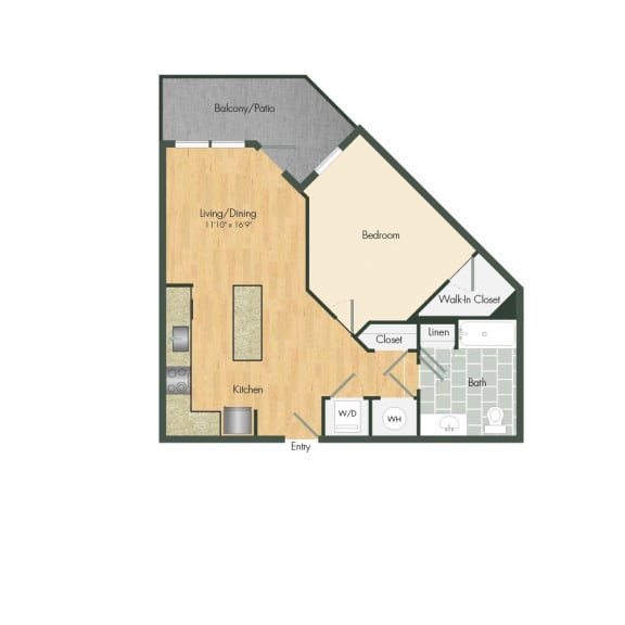 East- A4H One Bed 673 Sqft Floor Plan at Union Heights, Washington, 20002