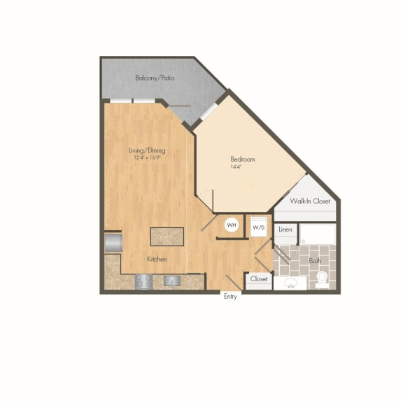 East- A6A One Bed 673 Sqft Floor Plan at Union Heights, Washington