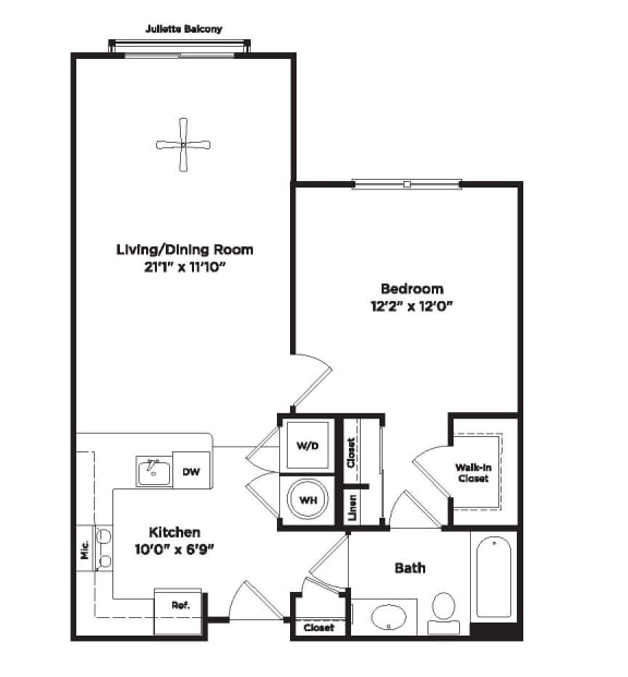 699 square foot one bedroom apartment