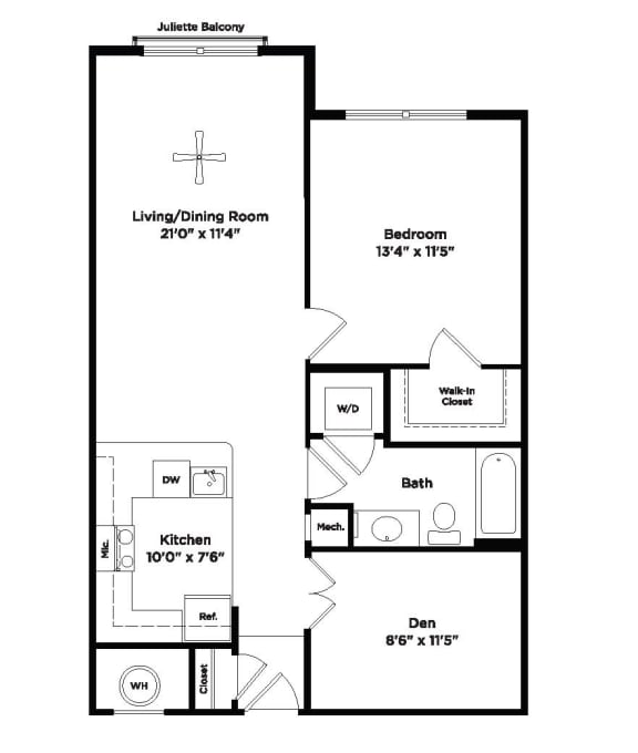 814 square foot one bedroom apartment with den space