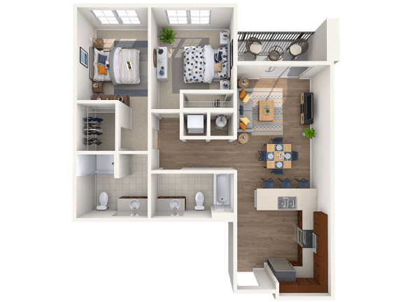 Floor Plan  B1B 2Bed_1Bath at Avenue Grand, Maryland