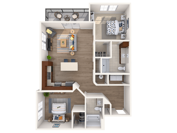Floor Plan  B2B 2Bed_2Bath at Avenue Grand, Maryland, 21236