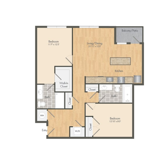 East- B8B Two Bed 1055 Sqft Floor Plan at Union Heights, Washington, 20002