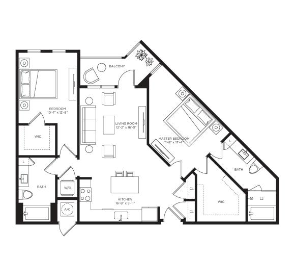2 Bed 2 Bath Como Floor Plan at Town Trelago, Florida