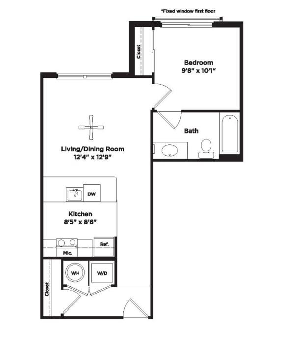 566 square foot studio apartment