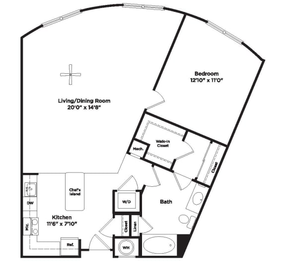 A12a Floor Plan at 800 Carlyle, Virginia