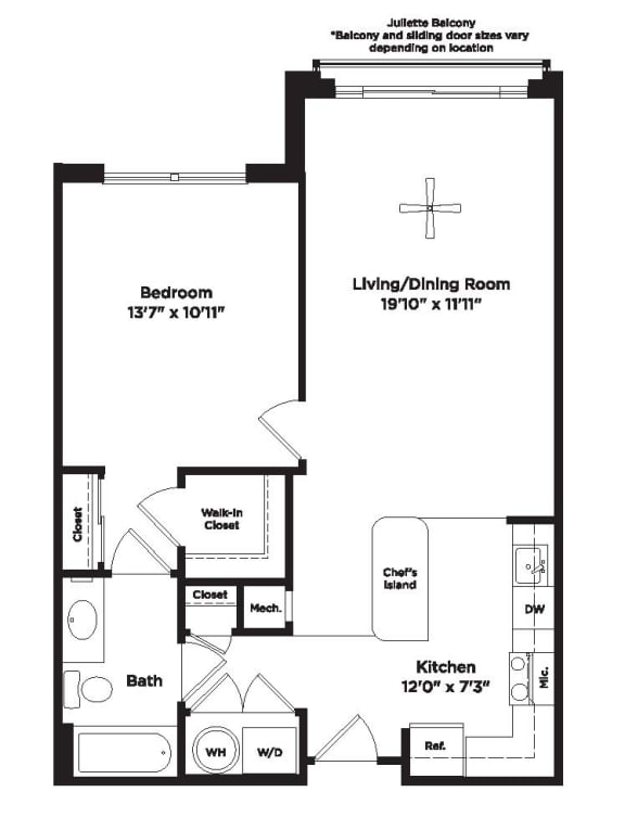 733 Square foot one bedroom apartment