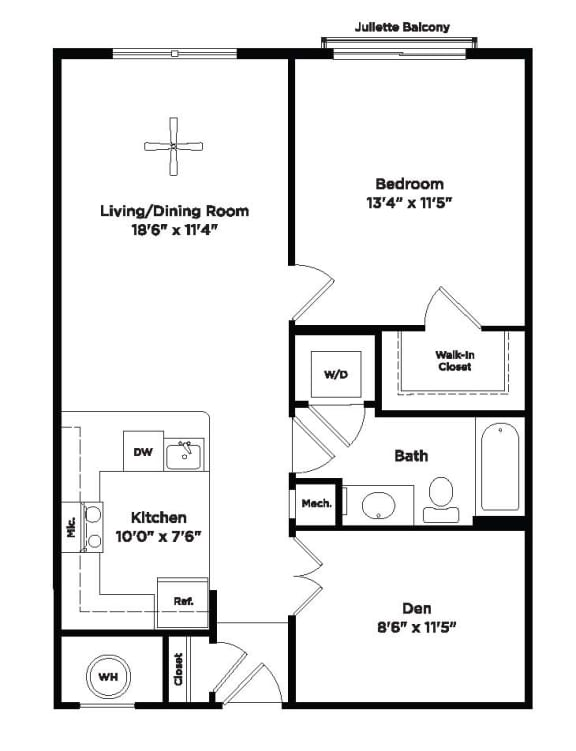 771 square foot one bedroom apartment with den space