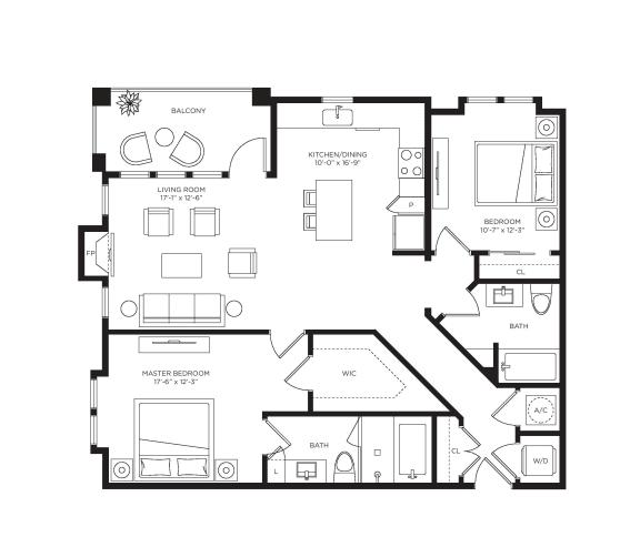 2 Bed 2 Bath Garda Floor Plan at Town Trelago, Florida