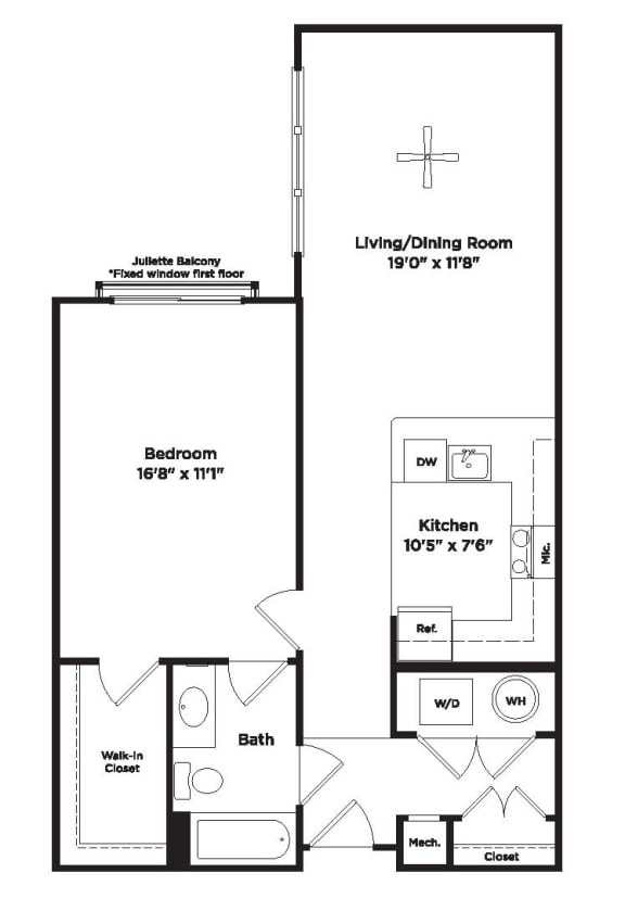 791 Square foot 1 bedroom apartment