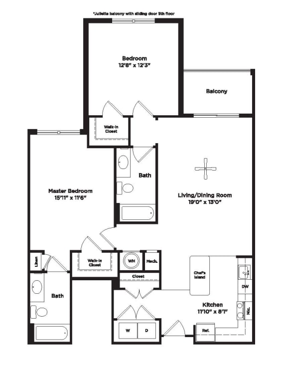 1079 square foot two bedroom apartment