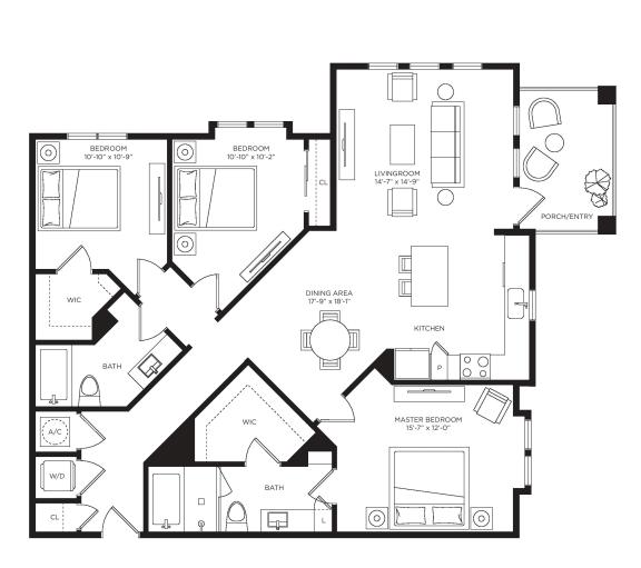 3 Bed 2 Bath Lugano Floor Plan at Town Trelago, Florida