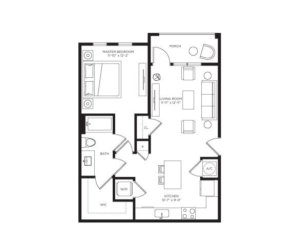 1 Bed 1 Bath Pomelo Floor Plan at Town Trelago, Maitland, FL, 32751