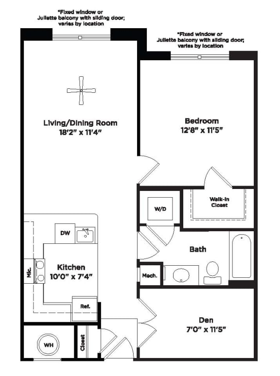 748 square foot one bed