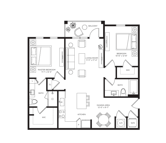 2 Bed 2 Bath Tangelo Floor Plan at Town Trelago, Florida