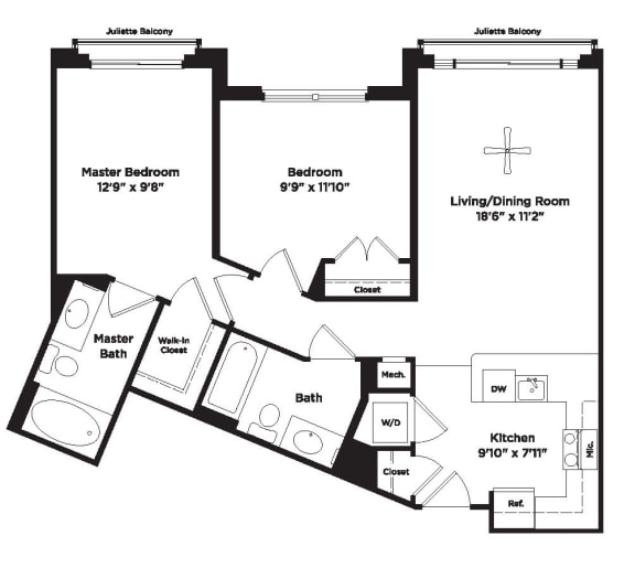 874 square foot two bedroom apartment
