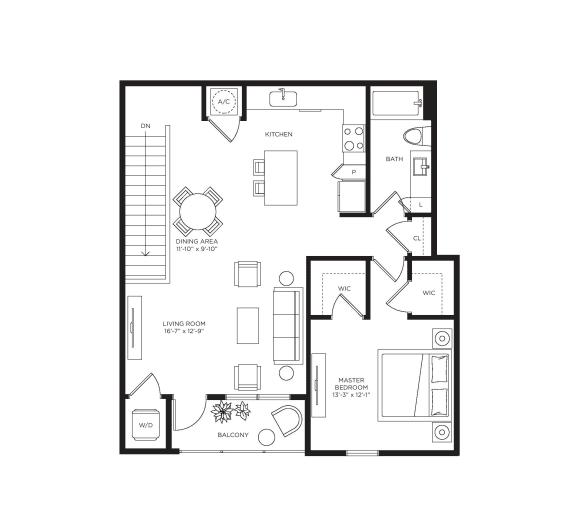 1 Bed 1 Bath Valencia Floor Plan at Town Trelago, Maitland, FL, 32751