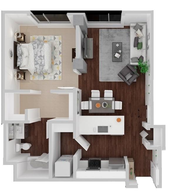 Dolores Alt 1 Bedroom 1 Bath Floorplan