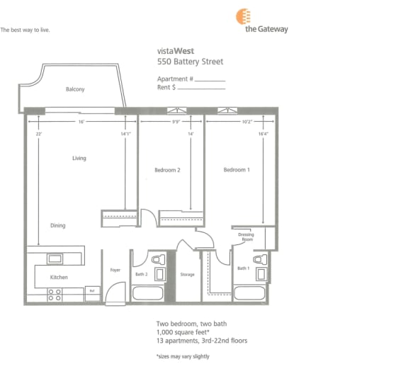 2 Bed 2 Bath B Floorplan