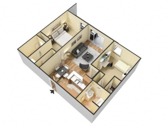Floor Plan  2 Bed 2 Bath Floor Plan