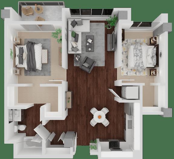 Valencia Alt 2 Bed 1 Bath floorplan