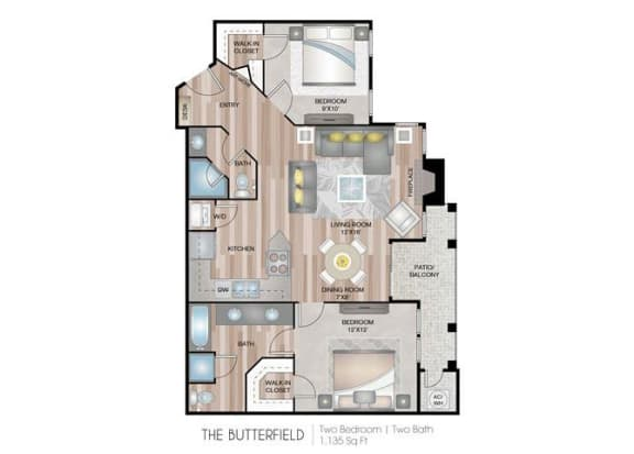 Butterfield two bedroom two bathroom