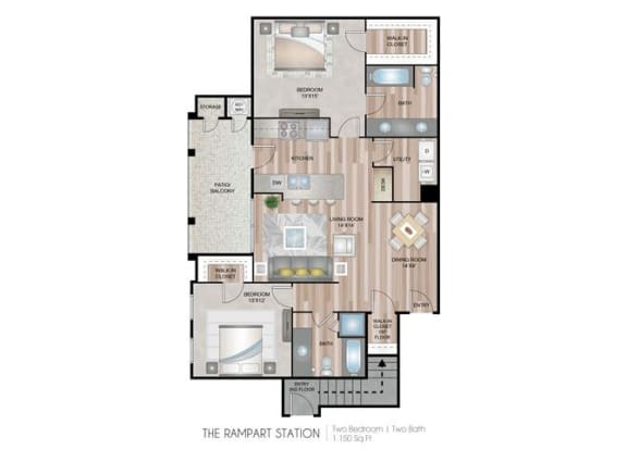Rampart Station two bedroom two bathroom