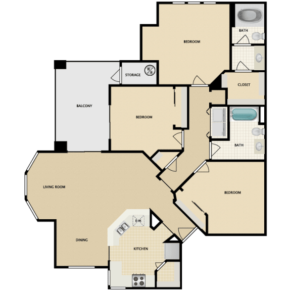 Floor Plan  Corniche three bedroom one bathroom