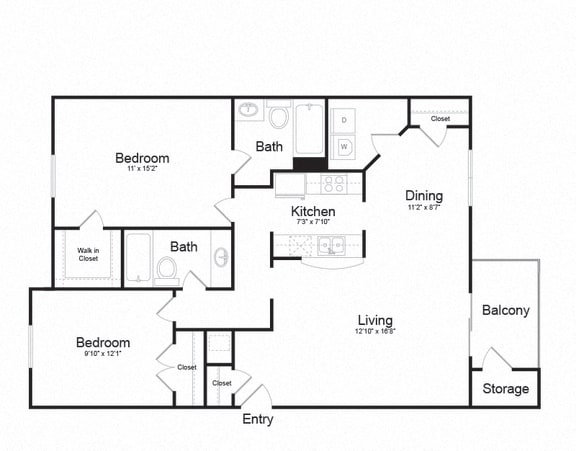 Floor Plan  2 Bed 2 Bath Floor plan at Ellicott Grove, Ellicott City