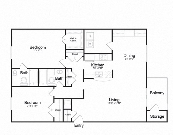 Two Bed Two Bath Floor plan at Ellicott Grove, Maryland, 21043