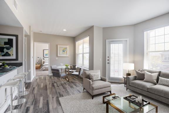 Living room, wood plank flooring