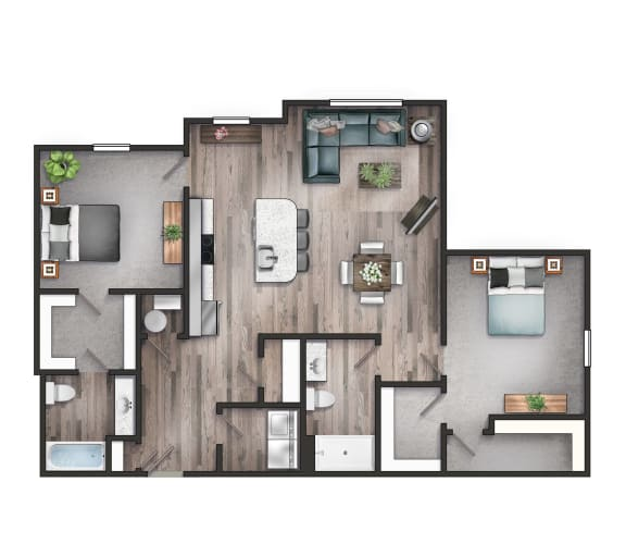 Floor Plan  The Retreat two bedroom two bathroom