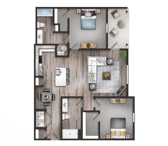 Floor Plan  Watermark two bedroom two bathroom