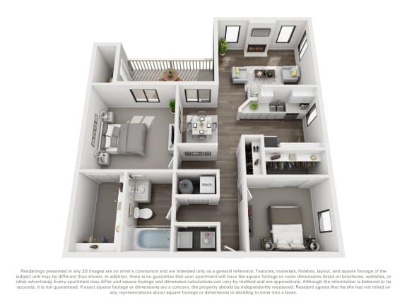 Floor Plan B10b 2 Bed 1 Bath