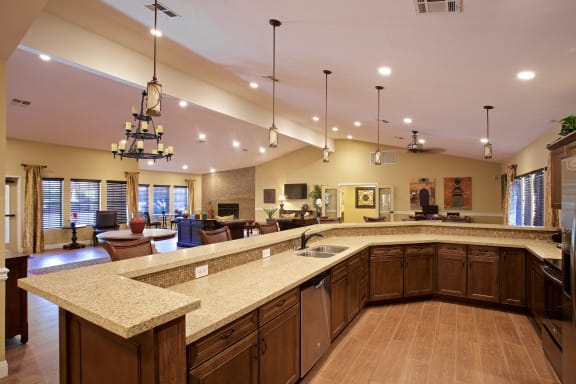 Clubhouse with Graceful Kitchen Area at Sky Court Harbors at The Lakes Apartments, Las Vegas, NV, 89117