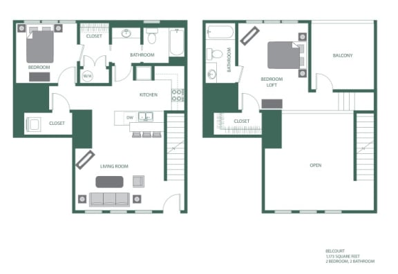 Belcourt Floorplan at 2100 Acklen Flats, Nashville