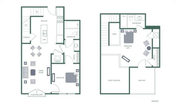 Bernard Floorplan at 2100 Acklen Flats, Tennessee, 37212