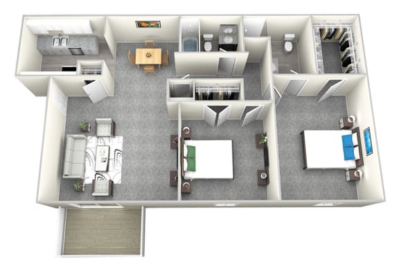 Nob Hill Apartments in Nashville - 2 Bedroom Floor Plan Apartment for Rent