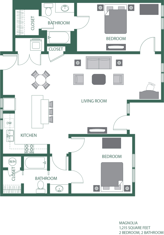 Magnolia Floorplan at 2100 Acklen Flats, Nashville, Tennessee