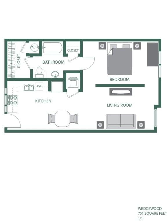 Wedgewood Floorplan at 2100 Acklen Flats, Tennessee, 37212