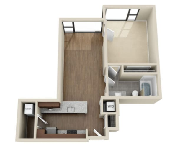 Floor Plan  One bedroom floorplan titled 1J