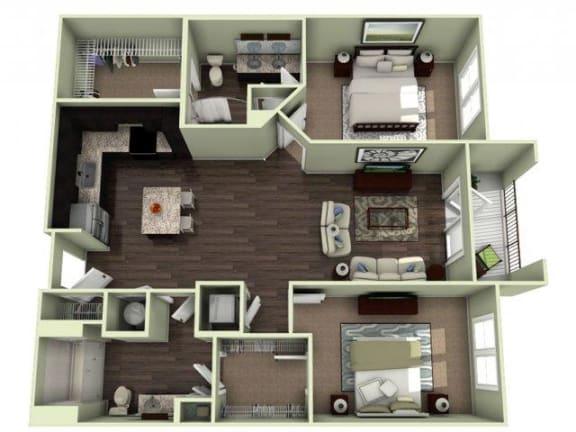 PINEHURST Floor Plan at LaVie Southpark, Charlotte, North Carolina