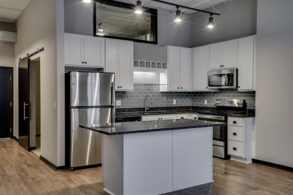 Kitchen with Stainless Steel Appliances and Subway Tile Backsplash