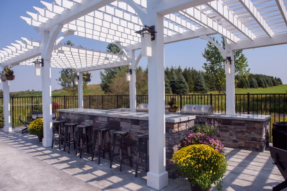 Outdoor Bar and Grilling Area with Pergola