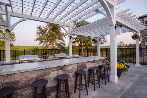 Outdoor Bar and Grilling Area with Large Pergola