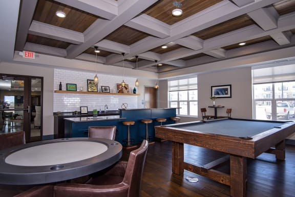 Card and Pool Table at the Private Game Room with Kitchen